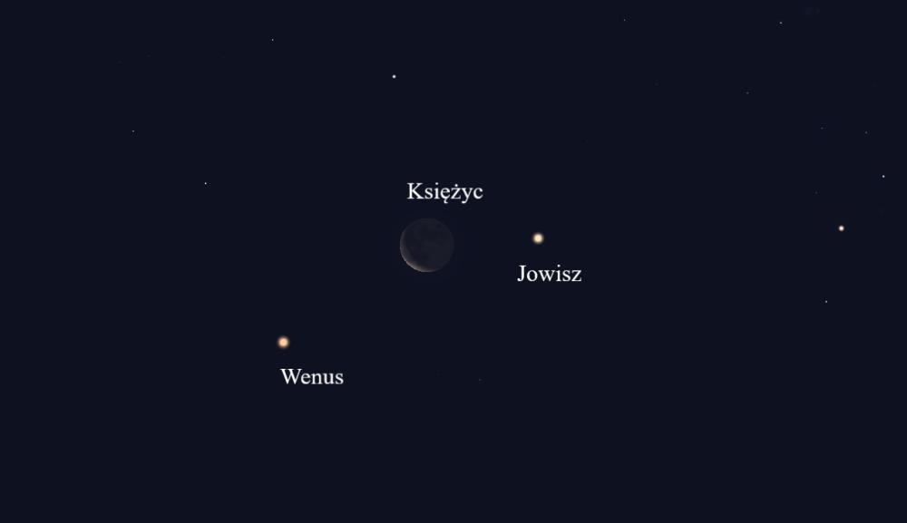 """""""Zwrot"""" astronomicky: Venuše, malý půlměsíc Měsíce a Jupiter"""