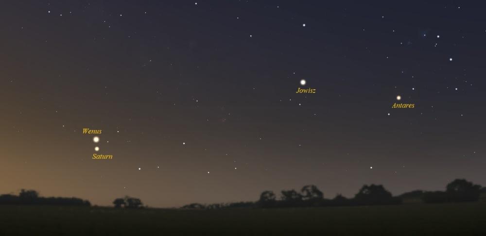 """""""Zwrot"""" astronomicky: Konjunkce Venuše a Saturnu"""