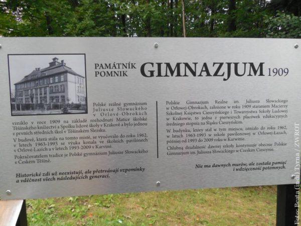 Informační tabule přiblíží historii Polského gymnázia na Obrokách