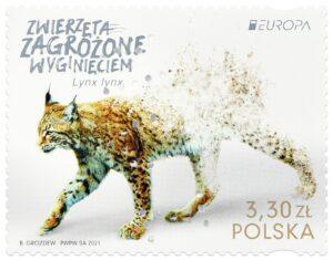 """Ve filatelistické soutěži """"EUROPA Stamps 2021"""" Polsko zastupuje známka s rysem"""